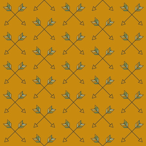 Crossed Arrows - mustard gold, mint