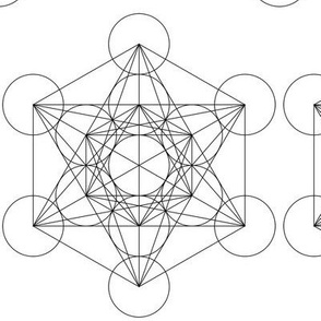 Metatron's Cube- Large- Black and white