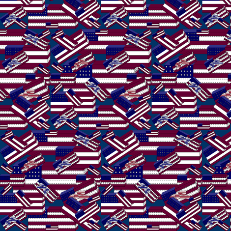 Americana, Patriotic, 4th of July, Red, White & Blue Flags Fabric #1 fabric by lworiginals on Spoonflower - custom fabric