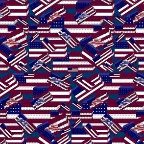 Americana, Patriotic, 4th of July, Red, White & Blue Flags Fabric #1