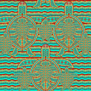 Sea Turtle Design Horizontal Lines Upward