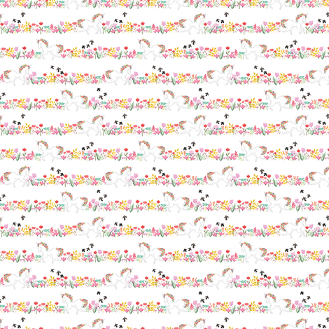 Unicorns and flowers in lines - TINY SCALE fabric by thislittlestreet on Spoonflower - custom fabric