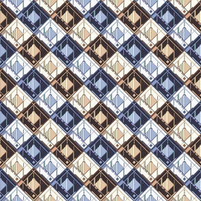 Disco Shirt Pattern Blues and Browns 01d-ed