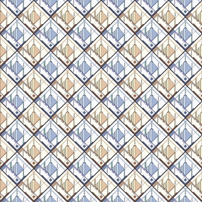 Disco Shirt Pattern Blue Beige 01d-ed