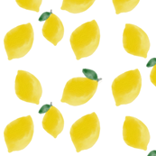 Watercolour lemons, fruit, citrus, yellow fruit, summer, bright || by sunny afternoon