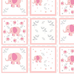 Elephant quilt  4 - pink  gray