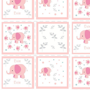 Elephants pink quilt 4 Personalized- gray turquoise