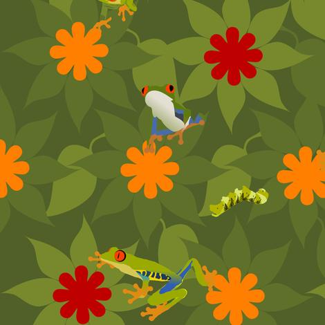 Flower Frog Caterpillar Leaf Design fabric by deanna_konz on Spoonflower - custom fabric