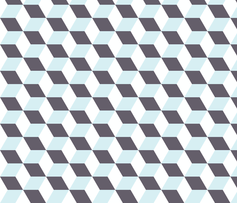 Cubes in Blue 3D Optical Illusion fabric by charissapray on Spoonflower - custom fabric