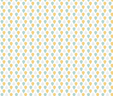 Rain Drops in Teal, Grey, and Yellow fabric by charissapray on Spoonflower - custom fabric