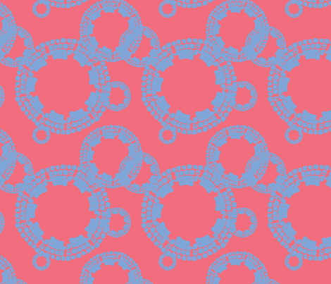 Cobblestone Coral w/ Blue fabric by cireedesigns on Spoonflower - custom fabric