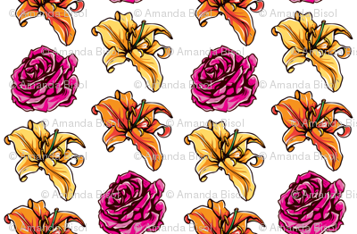lily_orange_yellow_rose_pink_lily_and_rose