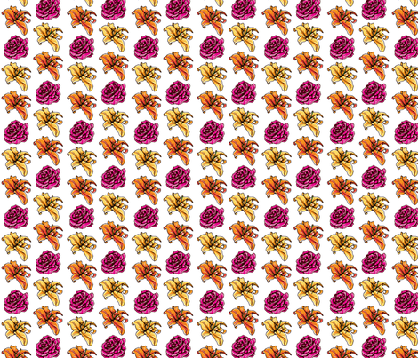 lily_orange_yellow_rose_pink_lily_and_rose fabric by lambandewecrafts on Spoonflower - custom fabric