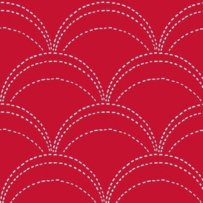 large wave stitch red