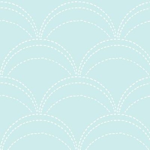 large wave stitch pale blue