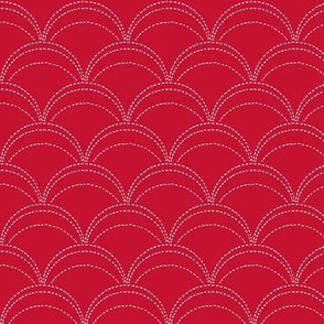 small wave stitch red