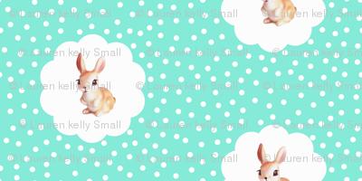 Retro Rabbit MINI Aquamarine Kitsch Polka