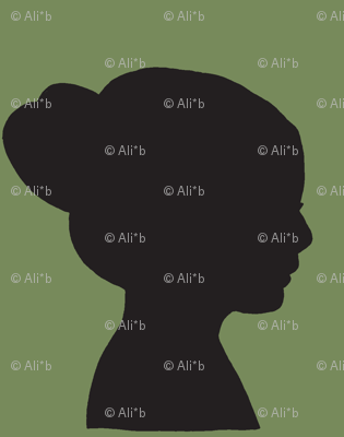 girl in silhouette green & black