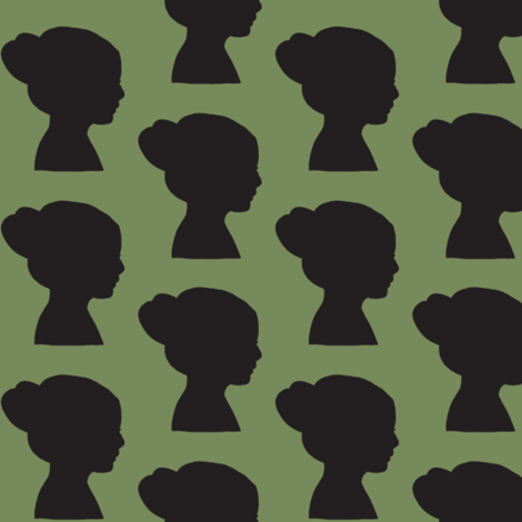 girl in silhouette green & black fabric by ali*b on Spoonflower - custom fabric