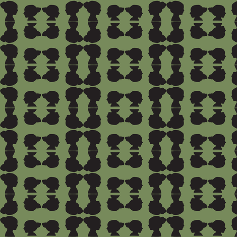 sisters in silhouette green & black fabric by ali*b on Spoonflower - custom fabric