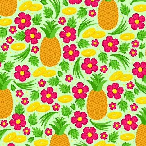 Taste of Aloha (Green) fabric by robyriker on Spoonflower - custom fabric