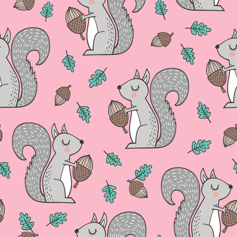 Forest Squirrel Squirrels with Leaves &  Acorn Autumn Fall on Pink fabric by caja_design on Spoonflower - custom fabric