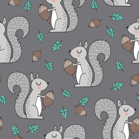 Forest Squirrel Squirrels with Leaves &  Acorn Autumn Fall on Dark Grey fabric by caja_design on Spoonflower - custom fabric