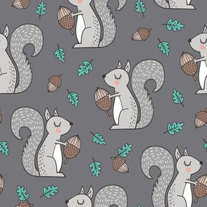 Forest Squirrel Squirrels with Leaves &  Acorn Autumn Fall on Dark Grey