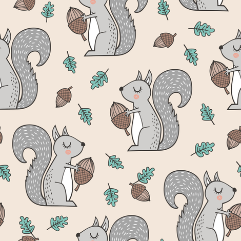 Forest Squirrel Squirrels with Leaves &  Acorn Autumn Fall  fabric by caja_design on Spoonflower - custom fabric