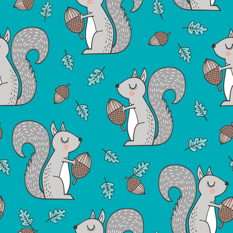 Forest Squirrel Squirrels with Leaves &  Acorn Autumn Fall on Blue fabric by caja_design on Spoonflower - custom fabric