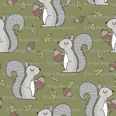 Forest Squirrel Squirrels with Leaves &  Acorn Autumn Fall on Green
