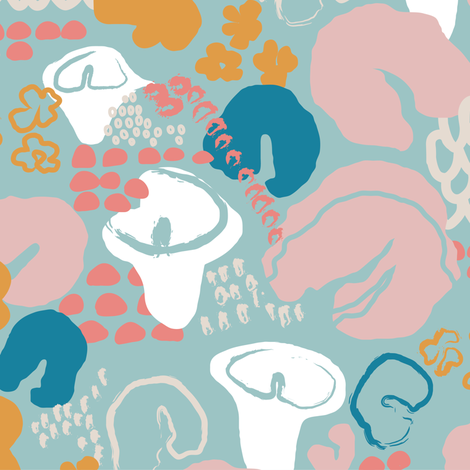 Abstract Floral blue fabric by lburleighdesigns on Spoonflower - custom fabric