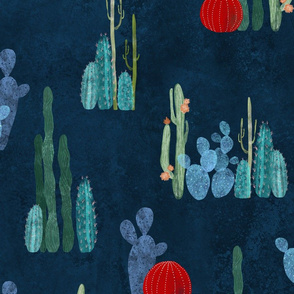 Cactus garden on deep blue