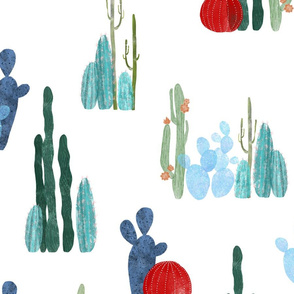 Cactus garden on white