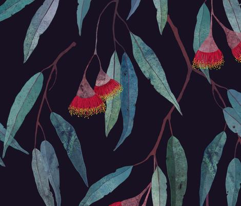 Eucalyptus leaves and flowers fabric by lavish_season on Spoonflower - custom fabric