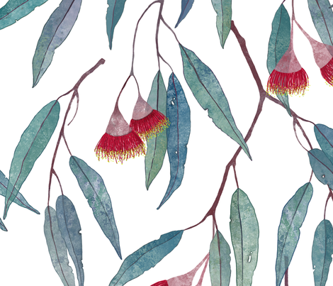 Eucalyptus leaves and flowers fabric by lavish_season on Spoonflower - custom fabric