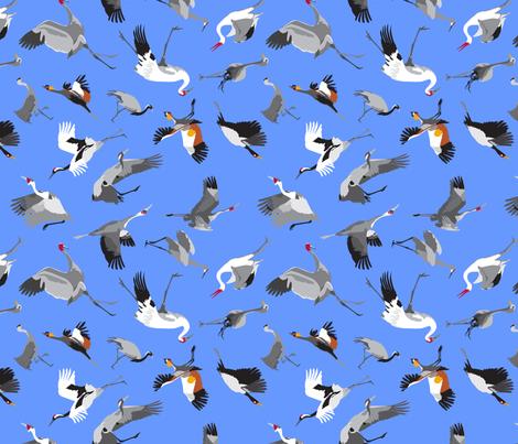 Cranes of the World  fabric by dancingbirdstudio on Spoonflower - custom fabric