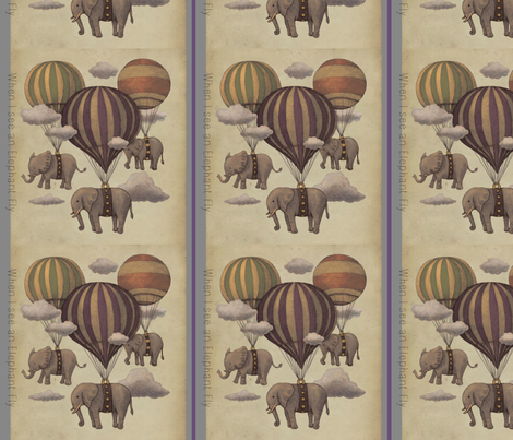 When I see an Elephant Fly fabric by floramoon on Spoonflower - custom fabric