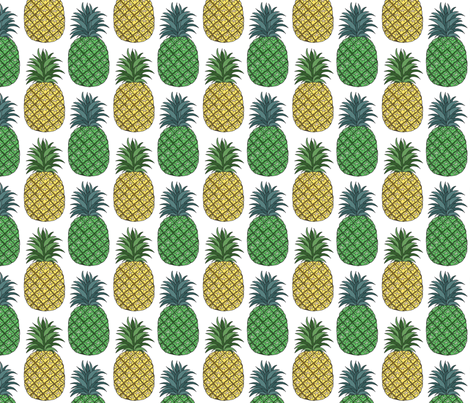 pineapple_pair_outlined_4x4 fabric by leroyj on Spoonflower - custom fabric