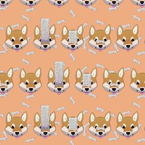 Shiba treat pattern, peach