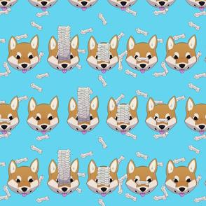 Shiba treat pattern, sky blue