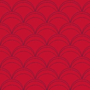 small wave stitch red and navy blue