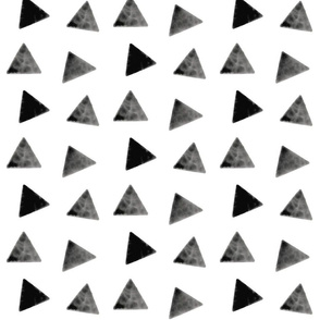 Watercolor triangles - monochrome, geometric, black and white triangles, modern print || by sunny afternoon