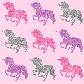 Glitter Unicorn Fabric Wallpaper Gift Wrap