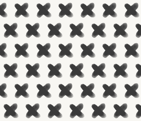 Crosses - monochrome watercolour, black and white, geometric, modern || by sunny afternoon fabric by sunny_afternoon on Spoonflower - custom fabric