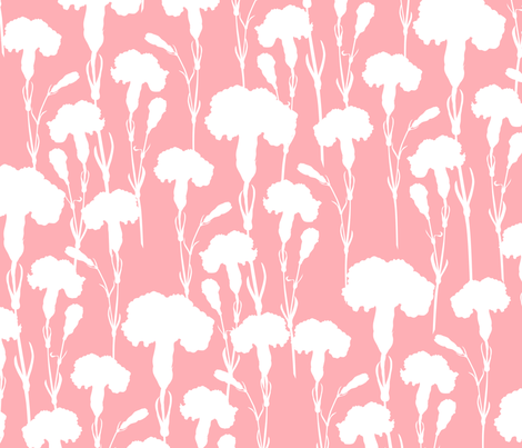 white_carnation_on_pink fabric by youdesignme on Spoonflower - custom fabric