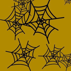 Spider web - black on mustard spooky || by sunny afternoon
