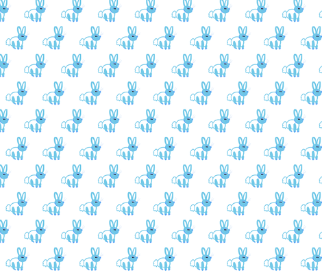 Blue bunny fabric by stephaniecolecreations on Spoonflower - custom fabric