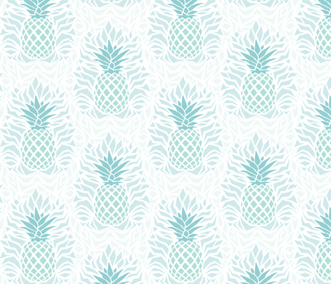modern_pineapple_damask_green fabric by rikkandesigns on Spoonflower - custom fabric