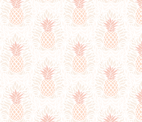 modern_pineapple_damask_peach fabric by rikkandesigns on Spoonflower - custom fabric